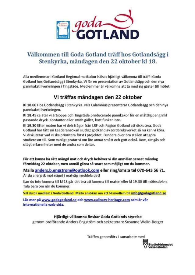 Inbjudan GodaGotland möte 22 okt